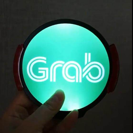 Grab Sign, LED Logo Light Sticker Glow Decal Accessories Removable