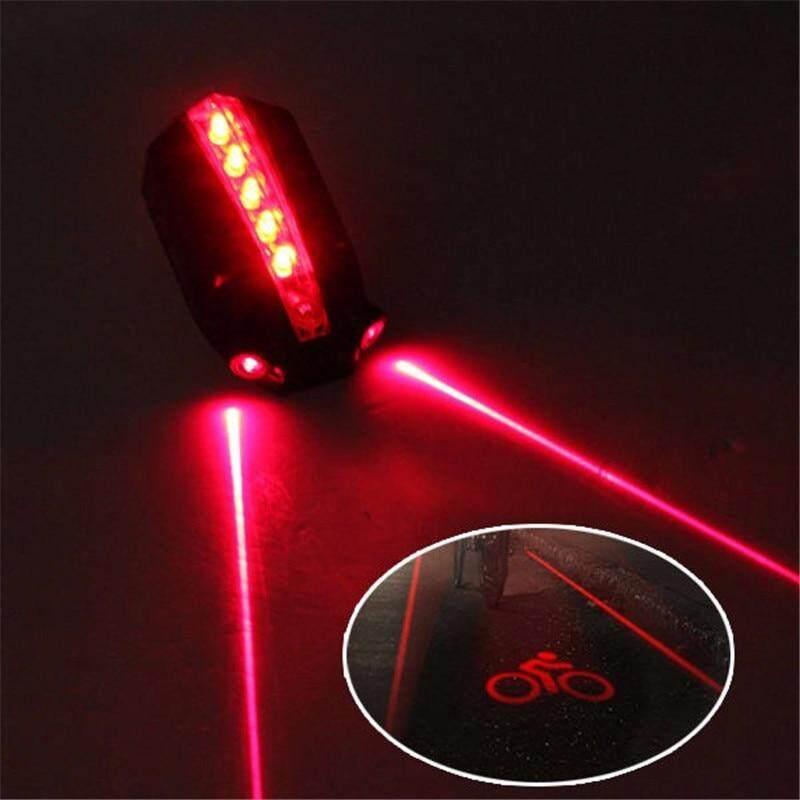 2 Laser Bicycle Light Rear Tail Flashing Safety Warning Lamp Night Bike 5 LED