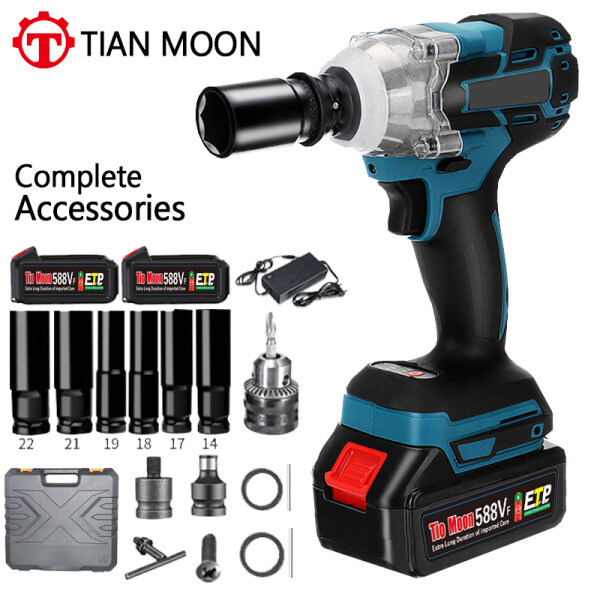 588VF 21V Complete Accessories Electric Brushless Impact Wrench Rechargeable 1/2 Wrench Cordless Optional 1 Or 2 Battery