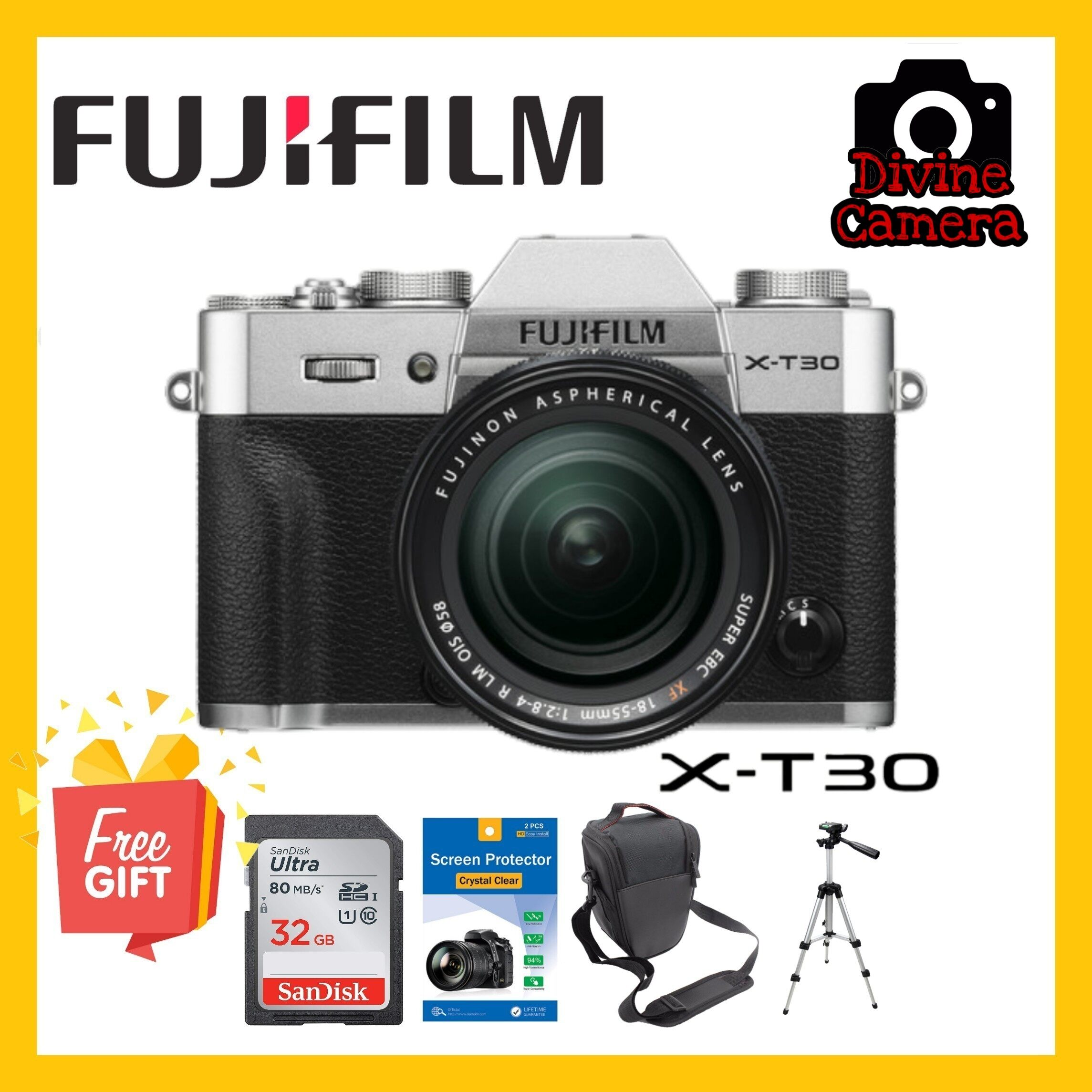 FUJIFILM X-T30 Mirrorless Digital Camera with 18-55mm Lens and Accessories Kit