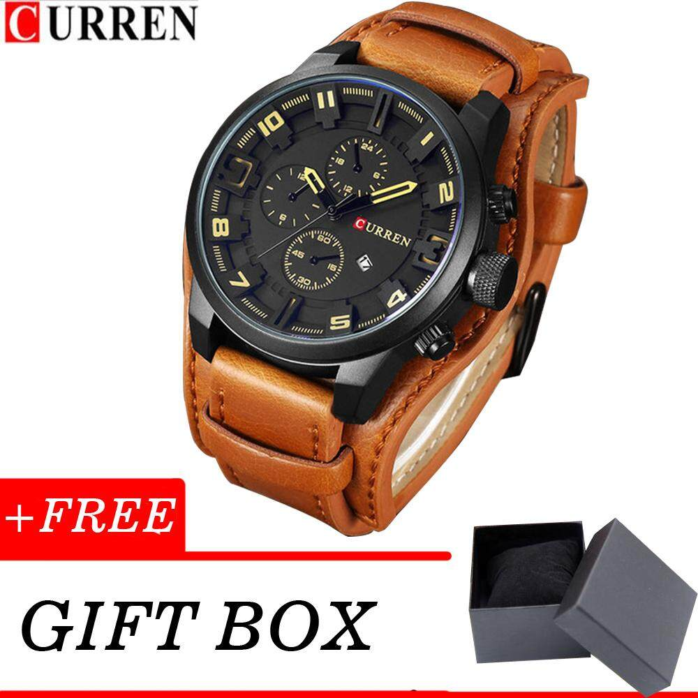 15d0acce5 CURREN Mens Watches Top Brand Luxury Leather Strap Waterproof Sport Men  Quartz Watch Military Male Clock