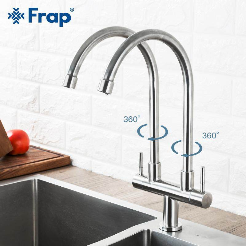Fantastic Frap Kitchen Faucet 304 Stainless Steel Single Cold Water Universal Tube Double Pipe Outlet Faucet Sink Wall Out Of The Rotation Download Free Architecture Designs Salvmadebymaigaardcom