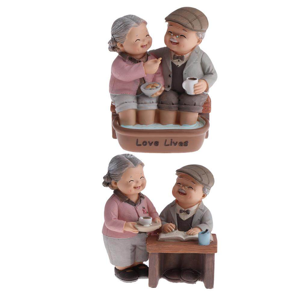 Dolity Drink &Footbath~Elderly Couple Figurines Statue Home Ornament Creative Gifts