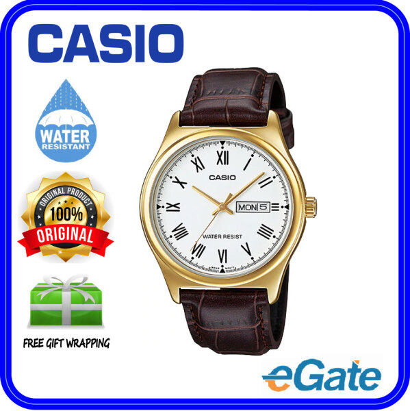 ( 2 YEARS WARRANTY ) Casio MTP-V006GL-7B Men Analog Date Day Functioning Classic Gold Case White Dial Brown Leather Band Original Casual Watch MTP-V006GL Malaysia