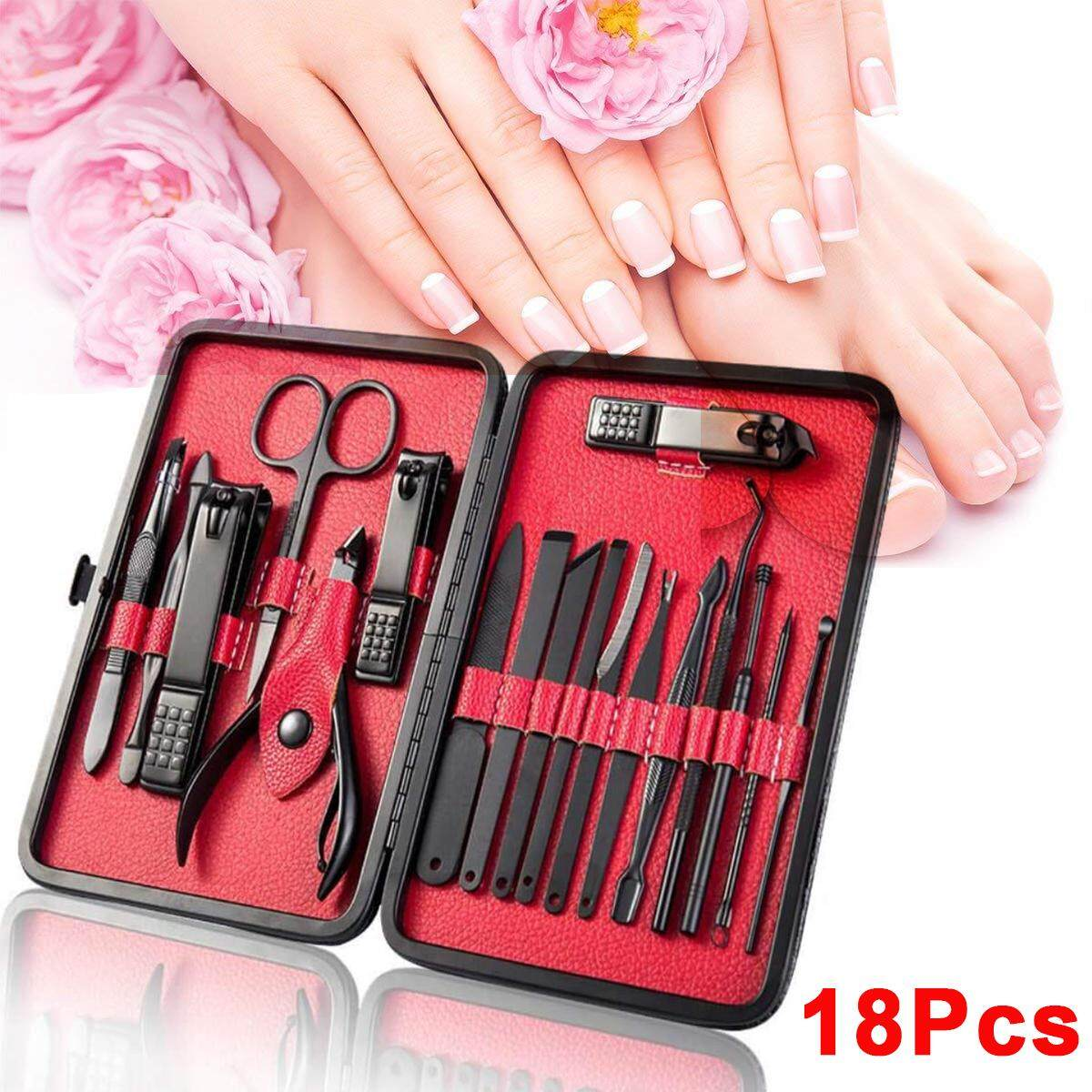 818165106b LEVTOP Manicure Set 18 In 1 Nails clipper Tools Professional Stainless  Steel Pedicure Grooming Kit with Leather Travel Case for Men and Women