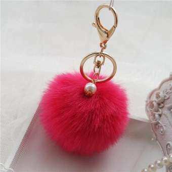LiJiangangstore 2019 กระต่าย FUR Ball กระเป๋าสะพวงกุญแจรถพวงกุญแจรถจี้กุญแจ-