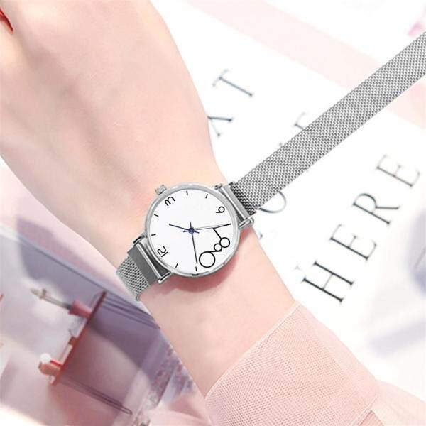 (Fantnesty) Fashion Womens Magnet Buckle Mesh Belt Watches Quartz Analog Round Wrist Watch watch for women sale original new best seller fashion branded Quartz black Malaysia