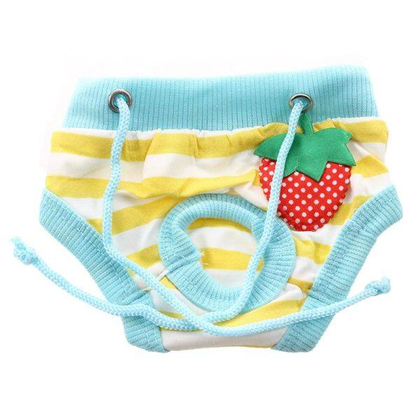 Small Female Pet Puppy Dog Clothes Physiological Sanitary Diaper Pant Blue+Yellow+White S