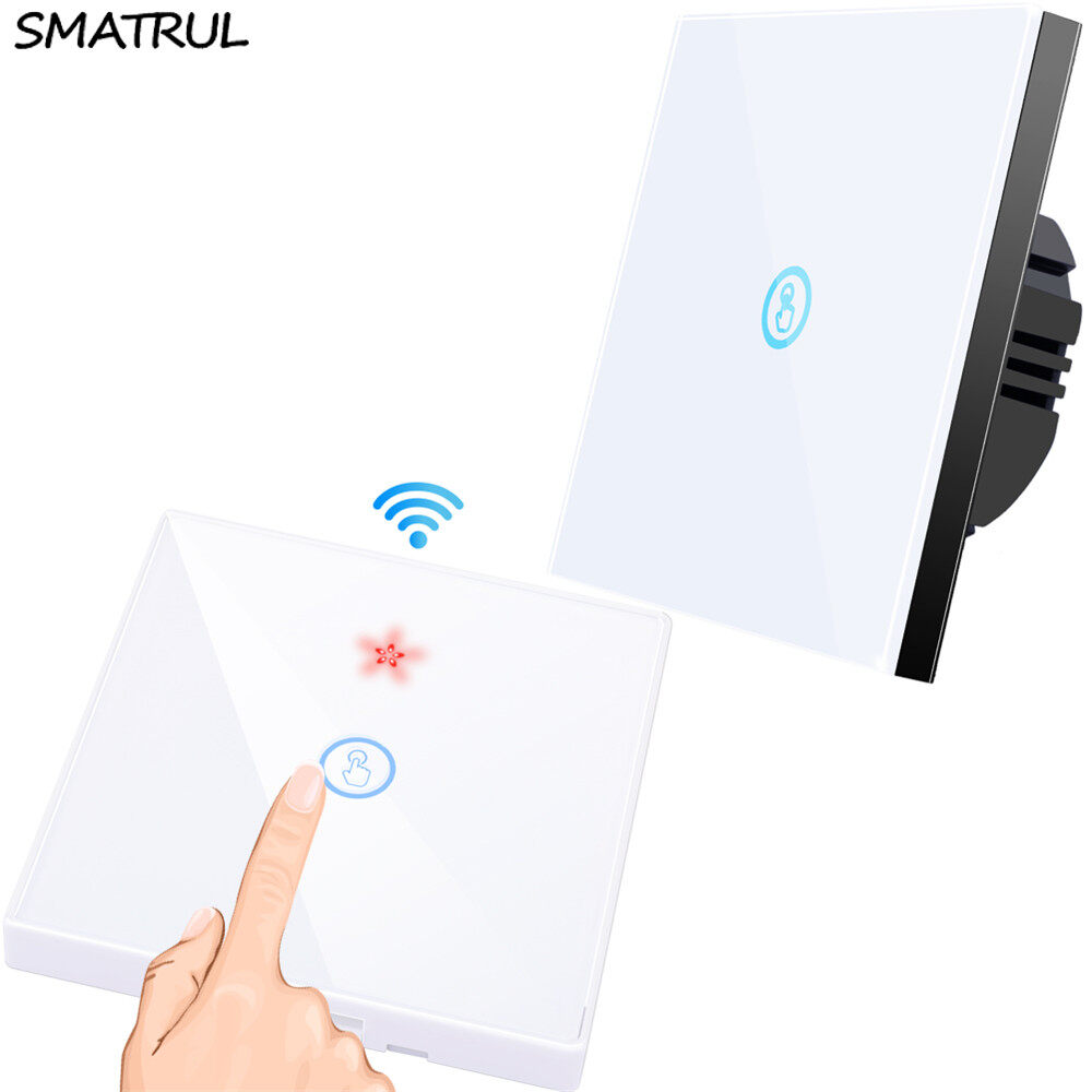 SMATRUL  Smart Wireless and wired 2 in1  touch Switch Light 433MHZ RF Remote Control Glass Screen 1 2 3 gang Wall Panel 110V 220V led Lamp on off