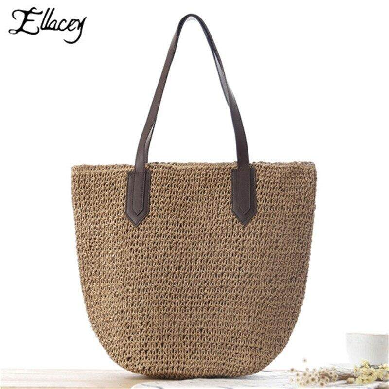 New Women Summer Straw Beach Bag Tote Bags Large Capacity Ladies Hand Bags Holiday Beach Travel Hand Made Rattan Bags