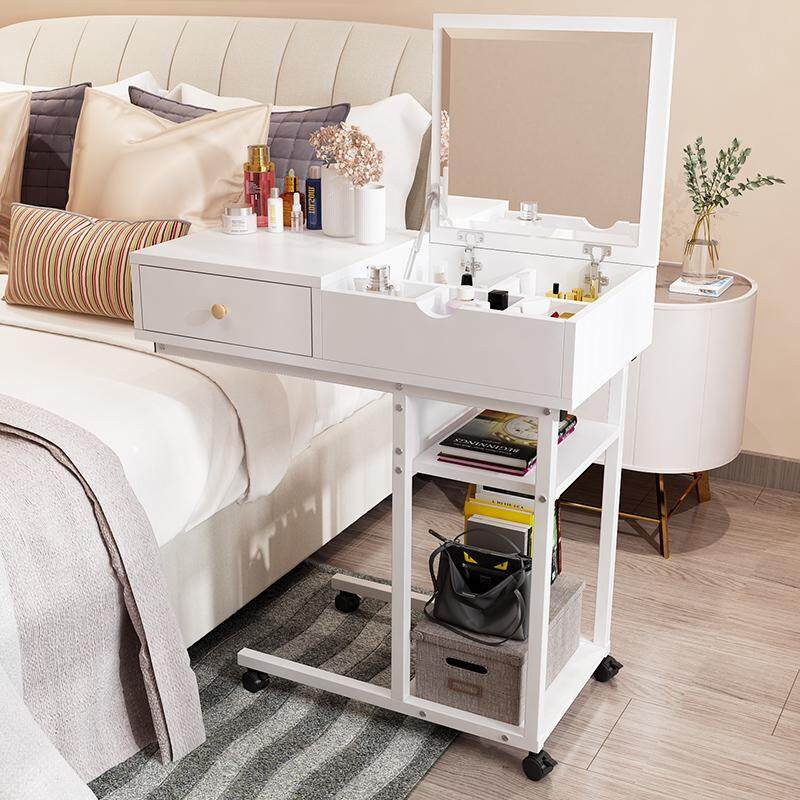 Movable Dressing Table with Wheels, Solid Wood, HD Folding Mirror, Seperated Drawer, Princess Makeup Cabinet Luxury Small Dressing Table