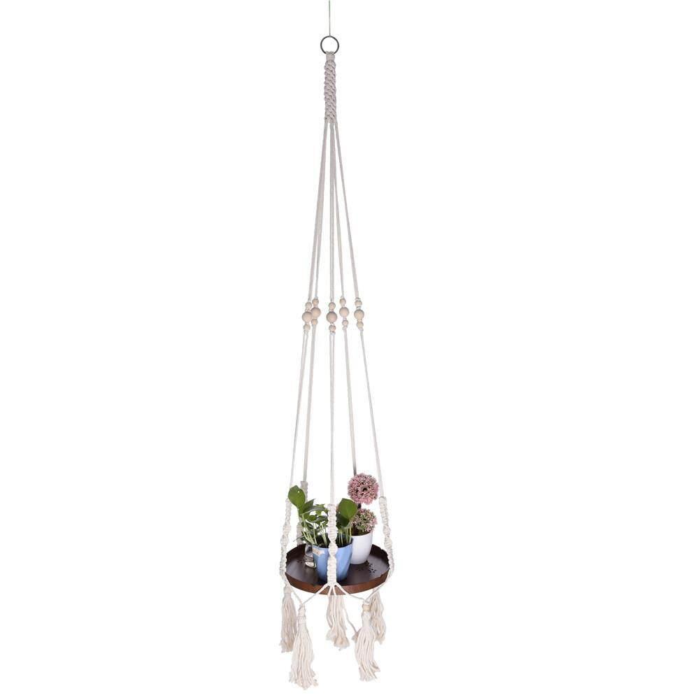 Flowerpot Woven Wooden Basket Net Pocket Cotton Rope