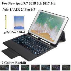 ipad keyboard case With 7 Backlit light Bluetooth Keyboard Case For New iPad 9.7 2017 ipad 2018 ipad 5thipad 6th ipad Air 1 ipad Air 2 Pro 9.7 keyboat +HD film + stylus pen