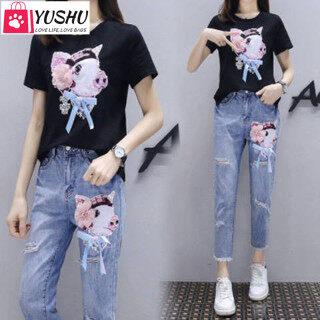 Bộ quần áo nữ Yushu thời trang, quần bò không co dãn, áo phông ngắn tay in hình heo dễ thương - INTL thumbnail