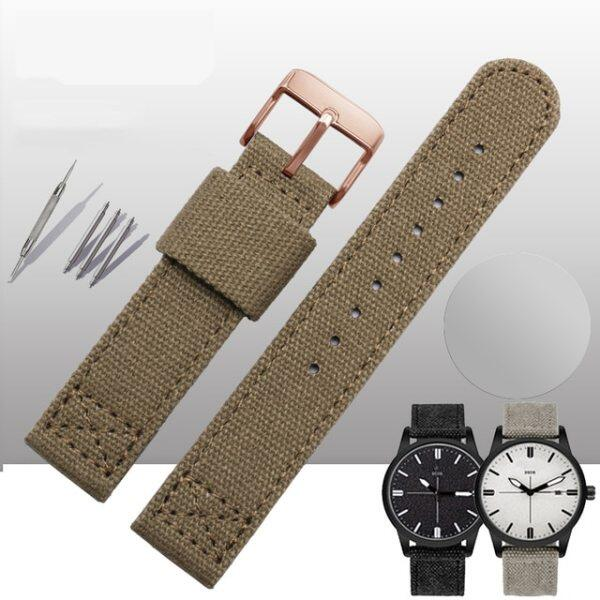 Thickened canvas watch belt for SEIKO 5/casio/citizen 18mm 20mm 22mm watch strap sports ventilation mens watch band comfortable Malaysia