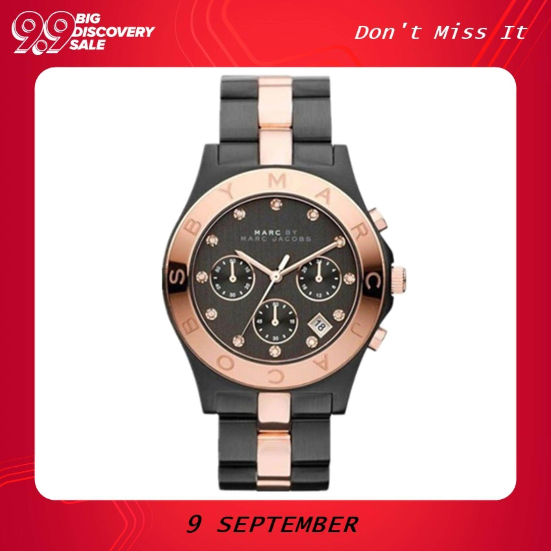 Authentic Original Marc Jacobs Womens Blade Chrono Rose Gold Two tone Watch MBM3180 Malaysia