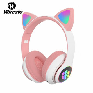 Wiresto LED Headphones Cat Ear Headset Cute Wireless Over the Ear Headphone Super Bass Bluetooth Headset Portable Earphones Stereo Headset Hi-Fi Sound Audio MP3 Music Gaming Headset with Mic Foldable Design TF thumbnail