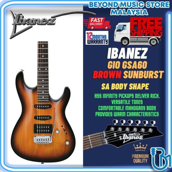 Ibanez GIO GSA60-BS Solid Mahogany Body GSA Maple Electric Guitar Brown Sunburst (GSA60) Malaysia