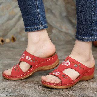 Aohuike Phong Cách Hàn Quốc Mùa Hè Nữ Hình Nêm Thời Trang Gót Hoa Thêu Xăng Đan Giày Nữ thumbnail