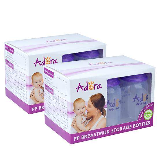 Adora Breastmilk Storage Bottles *5oz Standard Neck* (twin Pack ) By Onebabyworld.