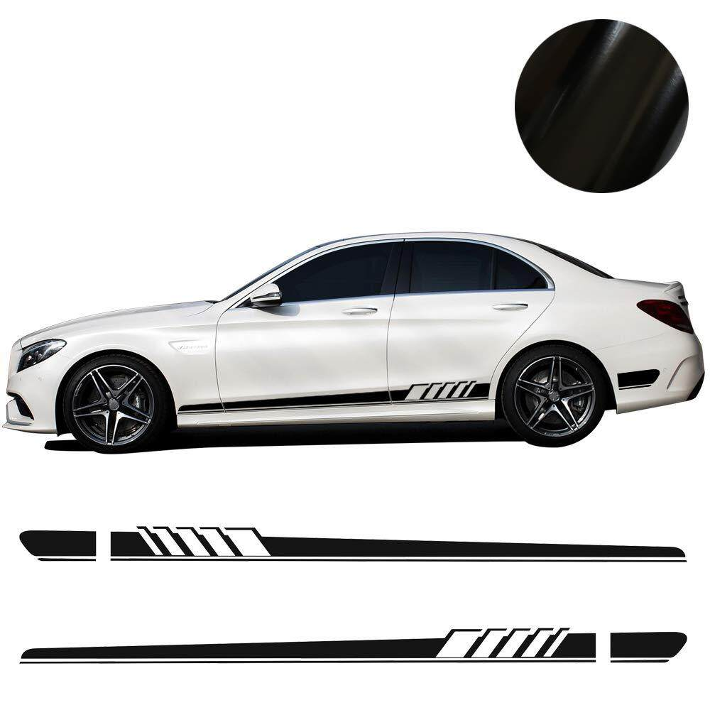 Product details of 2pcs car side body vinyl decal sticker sports racing race car long stripe decals 210x11 5 cm black