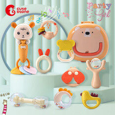 DEERC Baby Rattle Upgraded Version with Music【8PCS Sets】Top SOFT RUBBER Baby Toys Colorful Twisting Barbell Rattle and Teether Toys Set Newborn Baby-bed Mobile Bed Bell Develop Intelligence Baby Handheld Toys Children Educational Toy for Boys and Girls