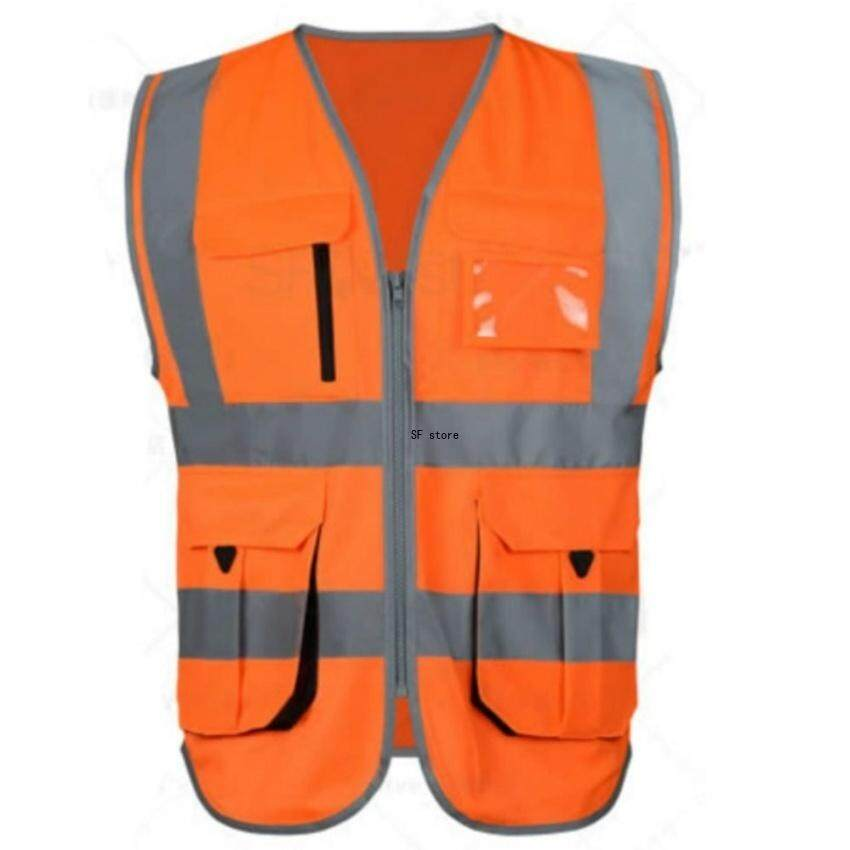 SF High Visibility Reflective Safety Vest Reflective Vest Multipockets Workwear Safety Waistcoat(Orange M Size)