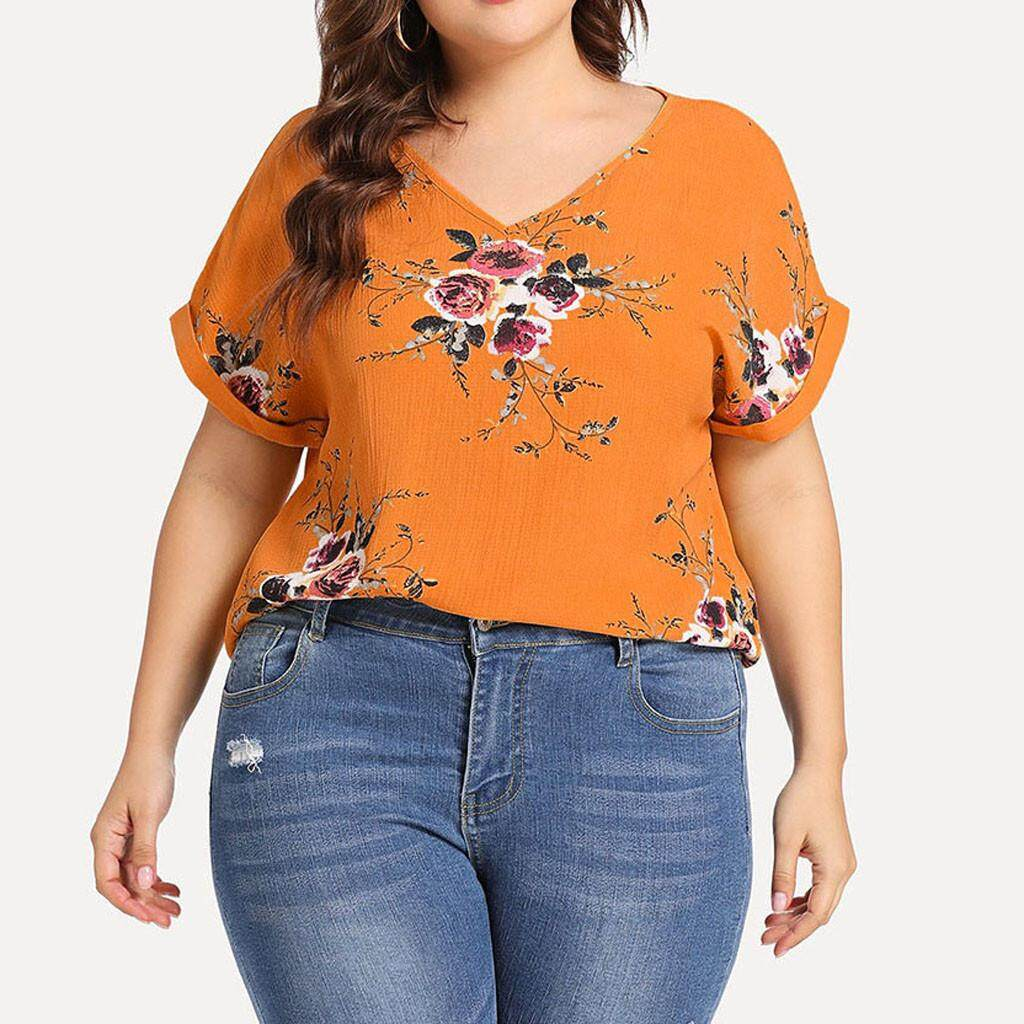 f631077248a7f Fashion Women Plus Size V-Neck Short Cuffed Sleeve Floral Print Casual Top  Casual Loose