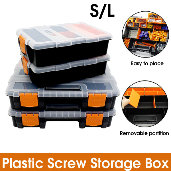 Plastic Carry Tool Storage Box Case Screw Hardware Organizer Container Clear - S size