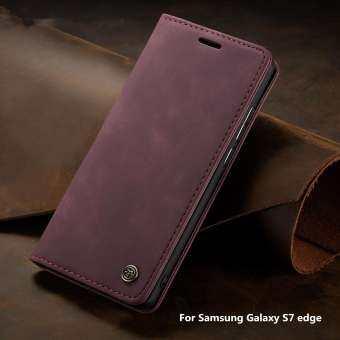 CaseMe สำหรับ Samsung Galaxy S7 EDGE แม่เหล็กคลาสสิกย้อนยุคกระเป๋าสตางค์หนังสำหรับ Samsung Galaxy S7 เคสโทรศัพท์ปิดขอบ-