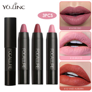 YOLINC 3PCS Lipsticks Lightweight Matte Lipsticks FOCALLURE Waterproof Matte Lipstick Lip Sticks Cosmetic Easy to Wear Matte Makeup Lipstick thumbnail