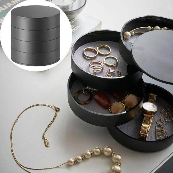 efuture 360 degree rotating jewelry multi-layer storage box small jewelry with lid storage box 10*10*10cm