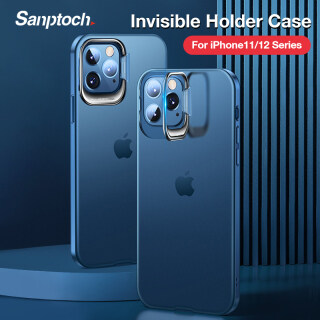 Sanptoch Vô Hình Chủ Ốp Điện Thoại Cho iPhone 11 12 Pro Max Chống Sốc Bìa Cho iPhone 12 Giá Đỡ Nhỏ Trường Hợp Trong Suốt Matte Ốp Bảo Vệ thumbnail