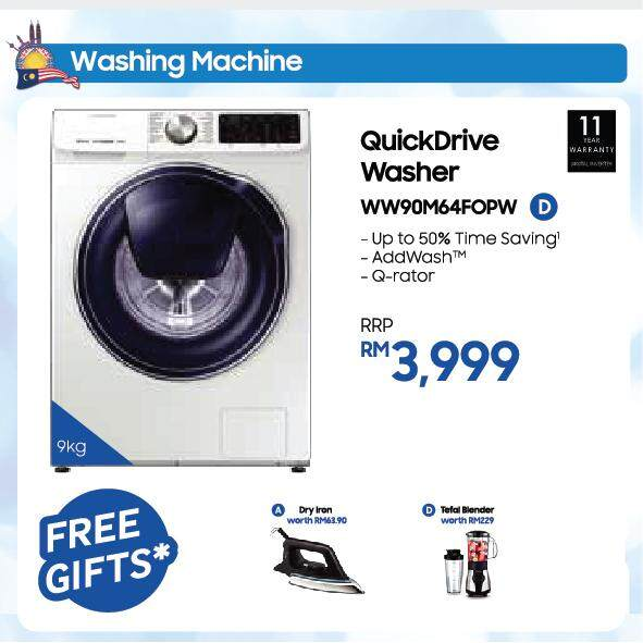 Front Load Washer with QuickDrive, 9 kg wash (WW90M64FOPW)