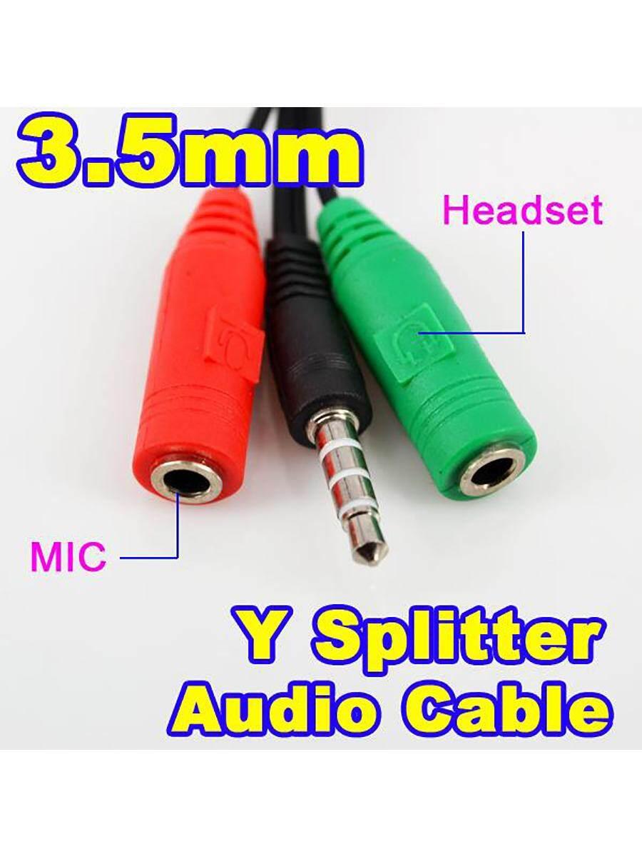 3.5 Mm Jack Male To 2 Perempuan Audio + Earphone MIK Headphone Kabel Ekstensi Y Set Kepala Pemisah untuk PC Laptop