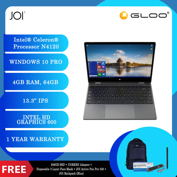 """JOI Book Touch 330 Pro (N4120,4GB+64GB,13.3"""" FHD,W10Pro) + 256GB SSD + UGREEN USB-C To 3*USB 3.0 A+HDMI+VGA+RJ45 Gigabit+SD/TF+AUX3.5mm+PD Converter Adapter + Disposable 3 Layer Face Mask + JOI Active Pen Pro 330 SV-P330 + JOI Backpack [Choose Color] Malaysia"""