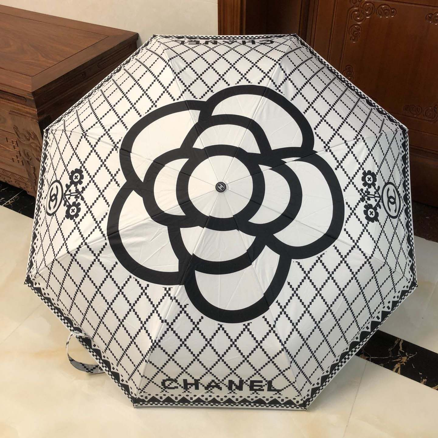 Chanell Elegant Camellia Pattern Upscale Automatic Open Foldable Windproof Umbrella Quick Operation Sturdy.