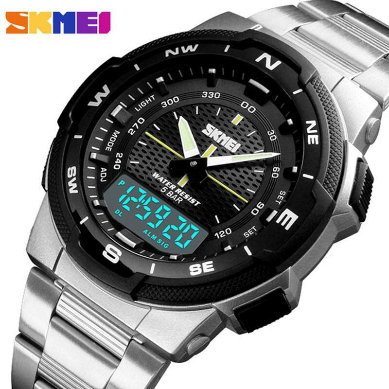 SKMEI Luxury Brand Fashion Mens Watch Dual Time Quartz Waterproof Clock LED Chronograph Military Stainless Steel Mens Watch Malaysia