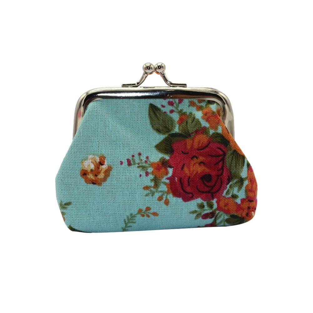 Lovelysmile ผู้หญิงดอกกุหลาบวินเทจกระเป๋าใส่เหรียญแบบกดเปลี่ยนกระเป๋าใส่เหรียญกระเป๋าคลัตช์ By Lovelysmile.
