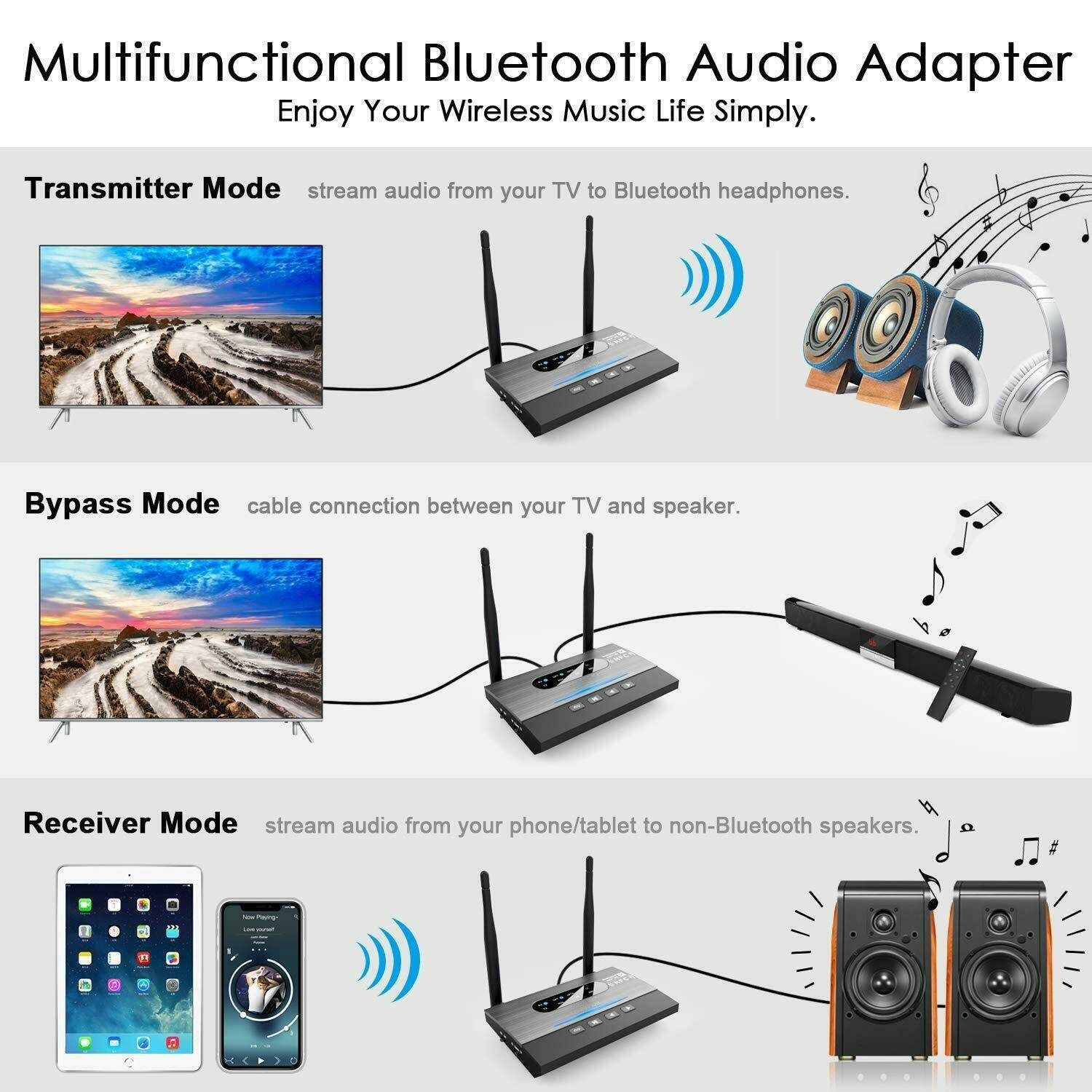 NFC 262ft/80m Long Range Bluetooth 5 0 Transmitter Receiver 3in1 Music  Audio Adapter Low Latency aptX HD Spdif RCA AUX 3 5mm TV
