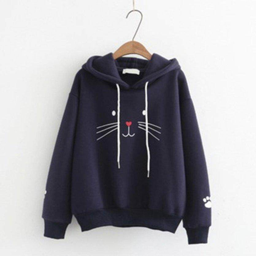 Ychic Autumn And Winter Korean Womens Casual Pullover Sweater Long Sleeve Hooded Student Top Fashion Wild Loose Top By Youngchic 888.
