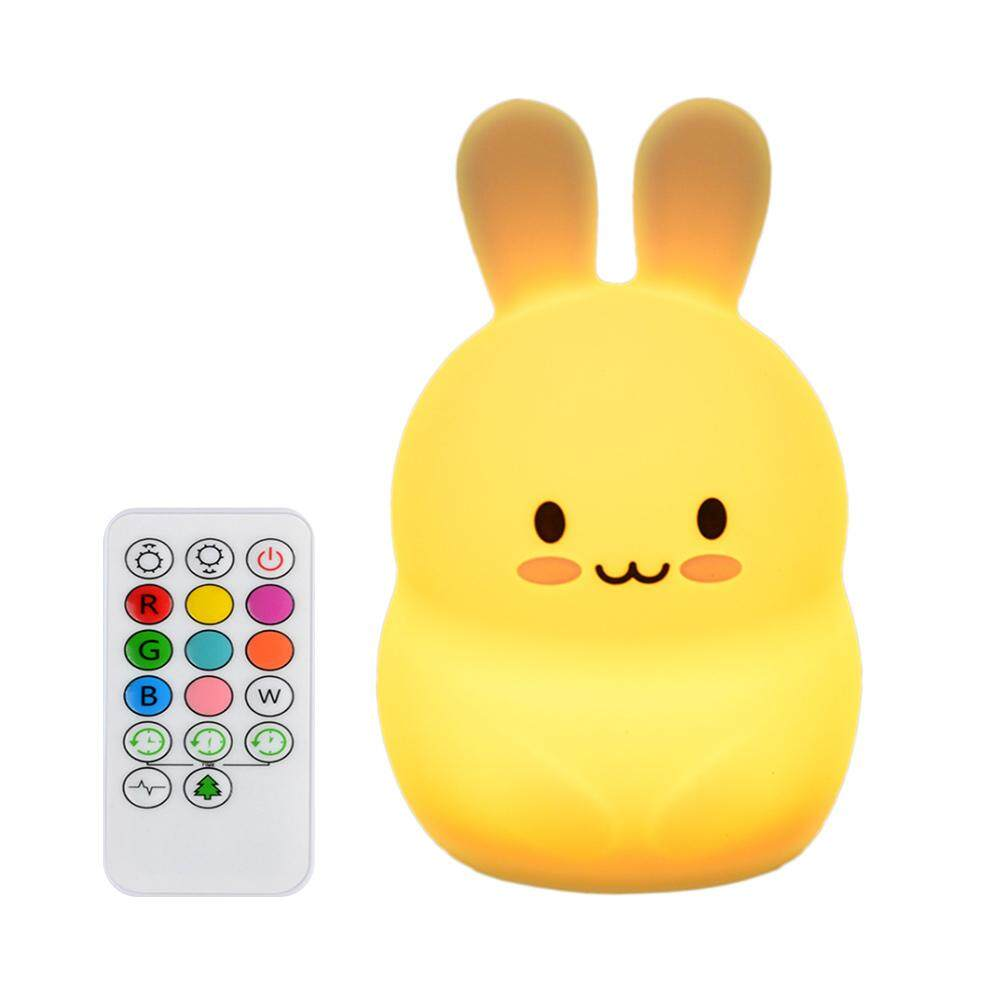 GUO Charging remote control rabbit silicone lamp bedside pat light