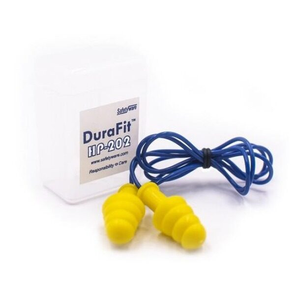 SAFETYWARE DuraFit Reusable Ear Plugs, Corded with Plastic Casing (HP-202) NRR: 25dB Qty: 6Pairs