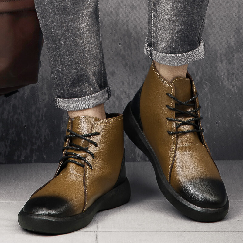 Brown leather boots  brown boots  boots with heel  heels boots  brown leather booties EL PASO Sizes 35-43 Available in other color