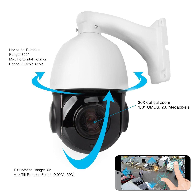 4.5/'/' 30X Zoom 1080P 2MP Outdoor HD PTZ IP Speed Dome Camera IR Night CMOS Auto