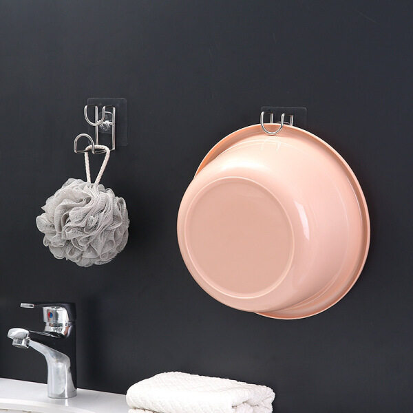 G Type Hook Punch-Free Creative Strong Seamless Paste Washbasin Hook Stainless Steel Bathroom Wall Nail-Free Glue Hook