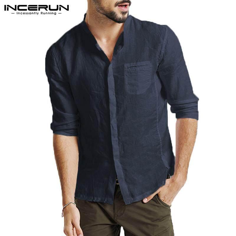 f6b49500f3f INCERUN Men s Summer Linen T-shirt V-Neck Button Casual Shirts Blouse Stand  Collar