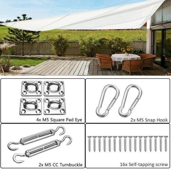 24Pcs Sun Shade Sail Canopy Accessories Stainless Steel Tools Kit For Rectangle or Square Shade Sail Replacement Fitting