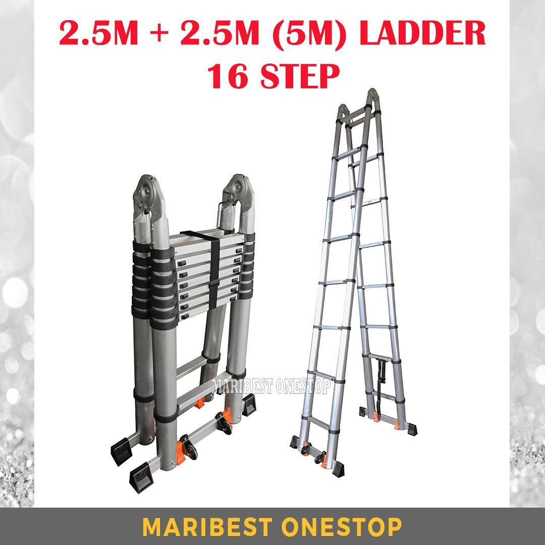 5M Double-Sided Multipurpose Telescopic Extendable Aluminium Ladder with Roller