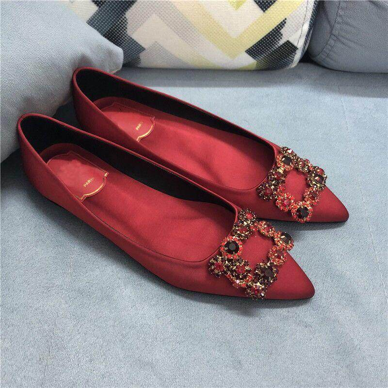 79c4d37438ffd Eastern Dawn Women Plus size Flat Shoes 2019 New Korean Fashion Wild Satin  Rhinestone Women Shoes